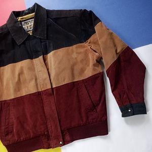 Vintage IZZI Earth Three-Tone Leather Biker Jacket